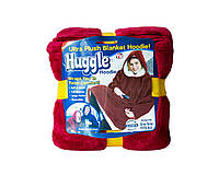 Плед-толстовка Huggle с капюшоном One Size Бордовый 2412, КОД: 1164299