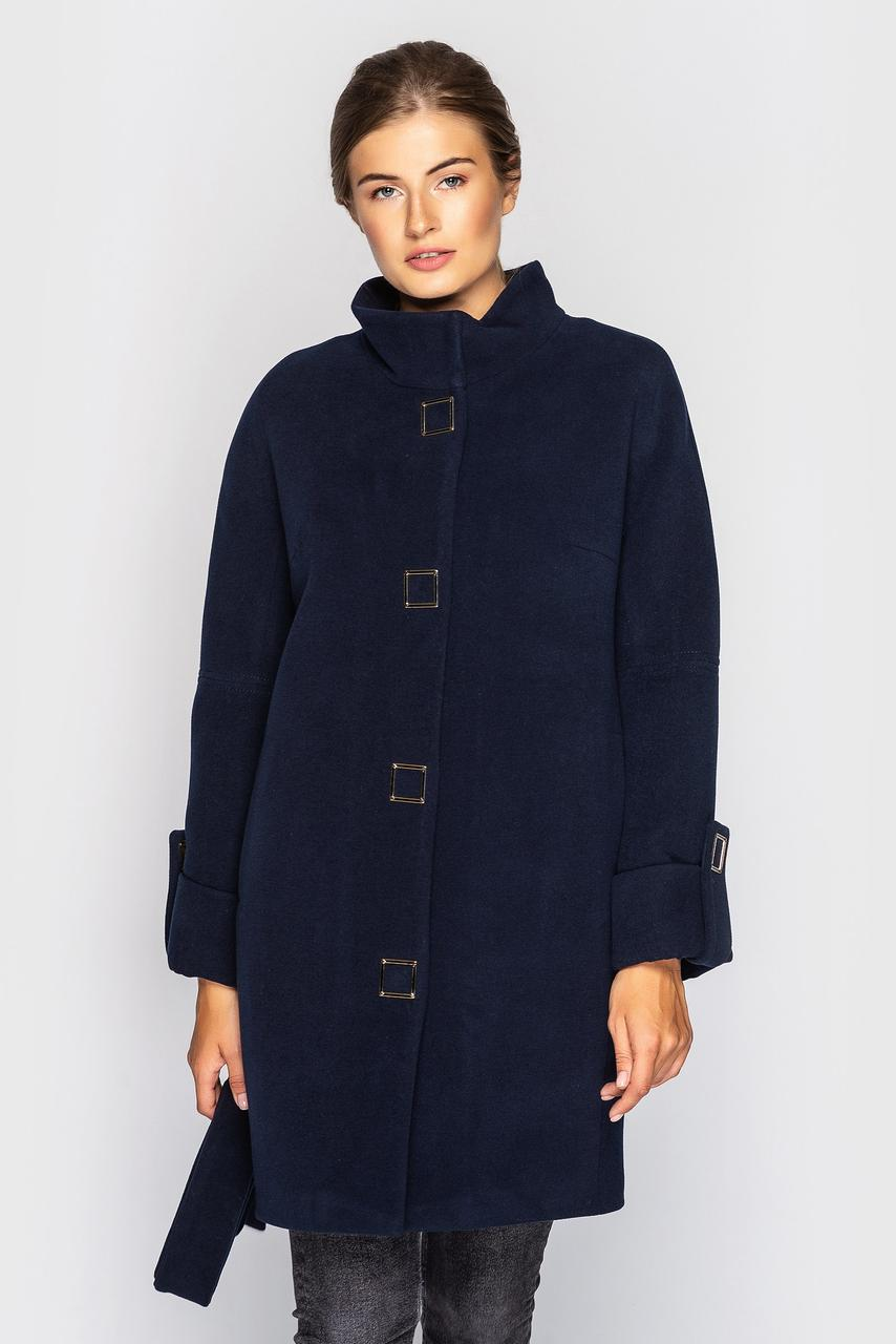 Классическое демисезонное пальто прямого кроя 46-54 размеры батал темно-синее, фото 1