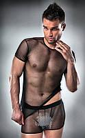 Мужской костюм Passion 017 SET XXL XXXL Черный PSM0173, КОД: 956388