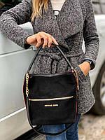 Большая вместительная замшевая женская сумка на плечо черная натуральная замша+кожзам