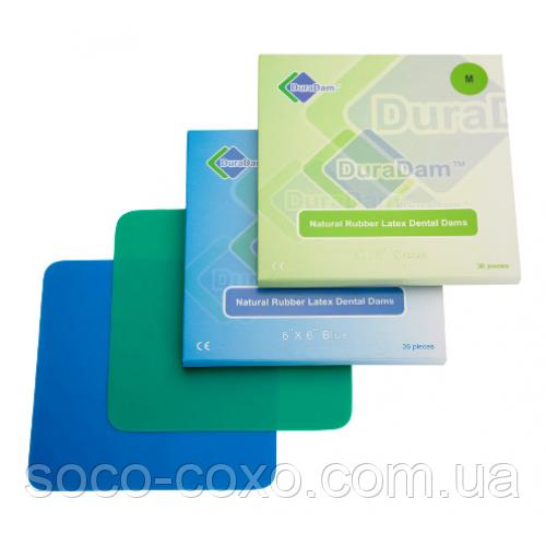Платки для коффердама (резинки раббердам) DuraDam  зеленые,синие,черные medium 0,18 мм., 152х152 мм