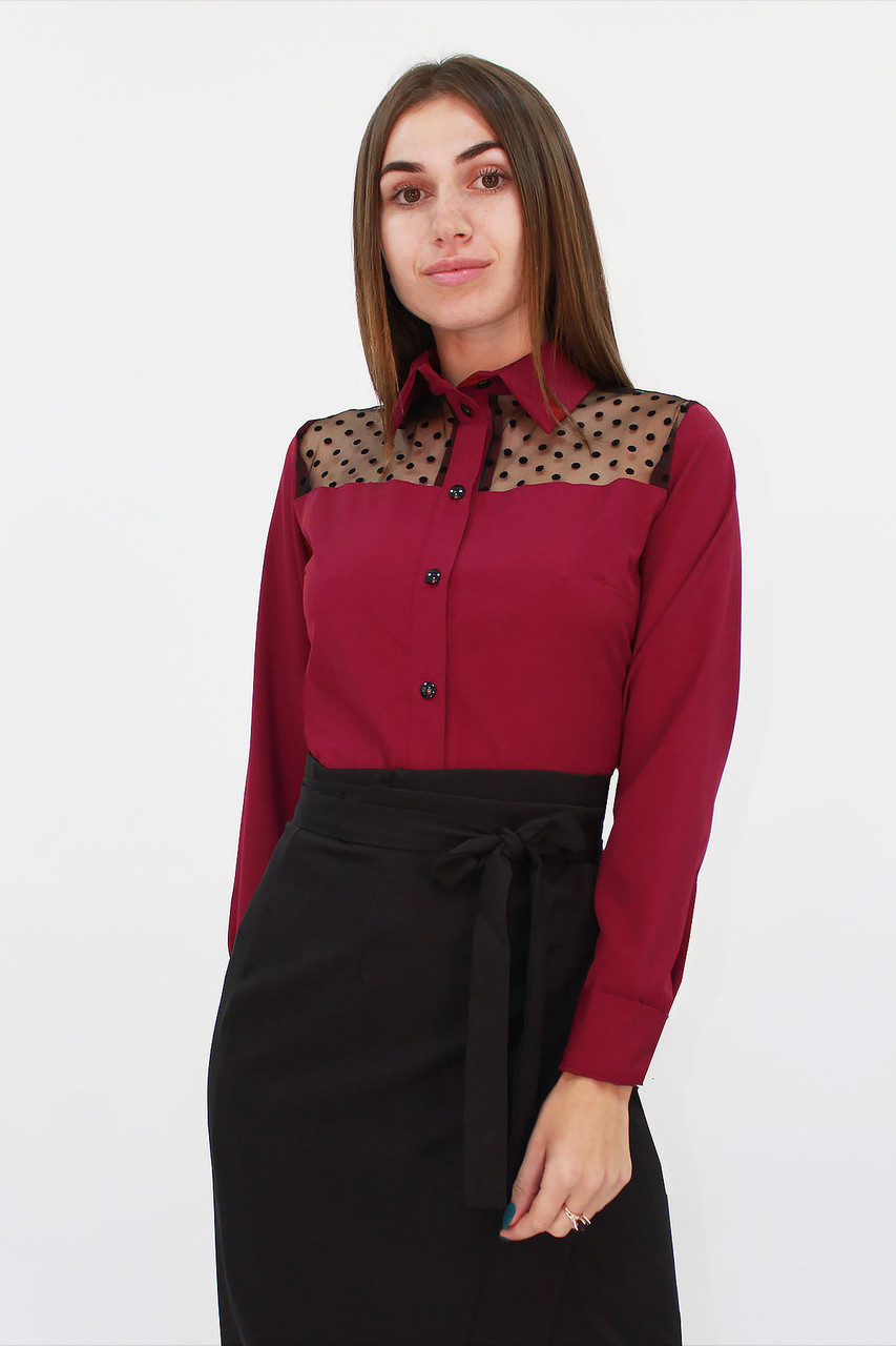 S, M, L, XL / Класична жіноча блузка Brenda, марсала