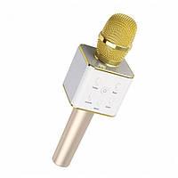Беспроводной Bluetooth микрофон для караоке Q7 Белый с золотистым 1em002565, КОД: 897820