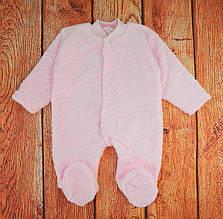 Комбинезон махровый без капюшона для новорожденного, Розовый