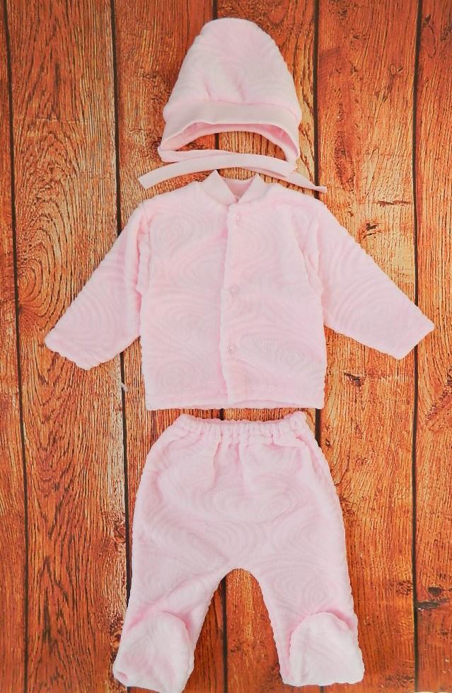 Костюмчик для новорожденных махровый, розовый