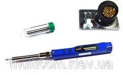 13-02-256. Паяльник з регулятором температури 10-30W, 150-450°C, з LCD дисплеєм + губка + припій, ZD-8950