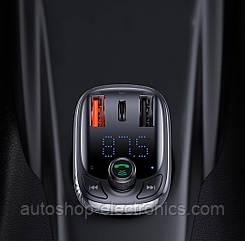 Bluetooth FM модулятор + Быстрая зарядка USB QC 3.0 + Type C + Громкая связь + microSD + Вольтметр