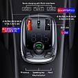 Bluetooth FM модулятор + Быстрая зарядка USB QC 3.0 + Type C + Громкая связь + microSD + Вольтметр, фото 5