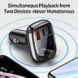 Bluetooth FM модулятор + Быстрая зарядка USB QC 3.0 + Type C + Громкая связь + microSD + Вольтметр, фото 7