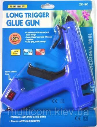 12-00-044. Пистолет клеевой 60W, под клей 11мм, с кнопкой, Max 280W, в блистере, ZD-8C