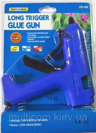 12-00-021. Пистолет клеевой 25W, под клей 11мм, Max100W, в блистере, ZD-8А