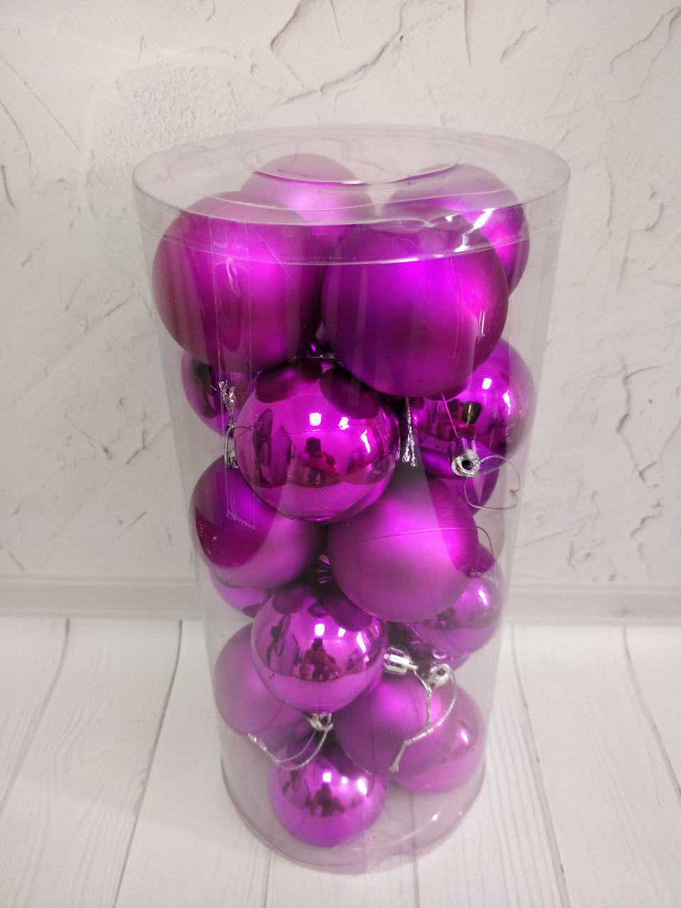 Шары новогодние в колбе 24шт. 60мм фиолетовые