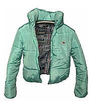 Модная короткая зимняя куртка с капюшоном, много цветов, мятная, 42- 48
