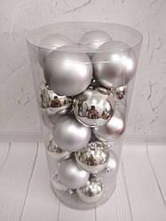 Шары новогодние в колбе 24шт. 80мм серебро