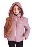 Модна коротка лілова тепла куртка з капюшоном, багато квітів, 42 - 48, фото 6