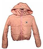Дутая розовая куртка с капюшоном, размеры 42 - 48, фото 7