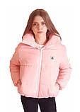 Дутая розовая куртка с капюшоном, размеры 42 - 48, фото 9