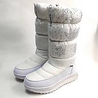 Детские подростковые дутики зимние сапоги на зиму для девочки белые Alaska 31р.