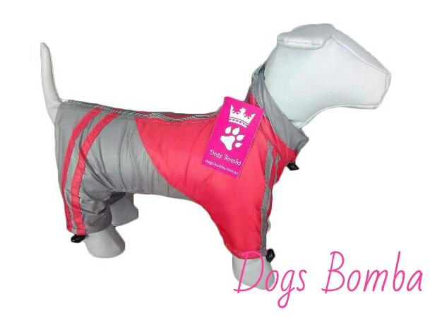 Дождевик на флисе для собак красный DogsBomba