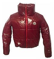 Короткая бордовая куртка с капюшоном, размеры 42 - 48