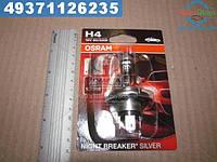 ⭐⭐⭐⭐⭐ Лампа фарная H4 12V 60/55W P43t NIGHT BREAKER SILVER (+100) blister (производство  OSRAM)  64193NBS-01B