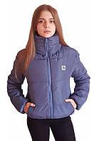 Дутая теплая куртка цвета джинс с капюшоном, много цветов, размеры 42 - 48