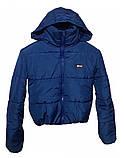 Дутая зимняя куртка с капюшоном, цвет Электрик, много цветов, размеры 42 - 48, фото 6