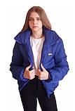 Дутая зимняя куртка с капюшоном, цвет Электрик, много цветов, размеры 42 - 48, фото 2