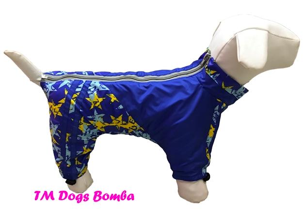 Дождевик на флисе для собак звёзды голубые DogsBomba