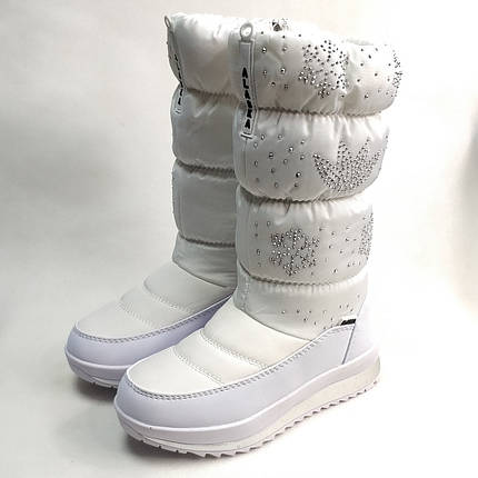 Детские подростковые дутики зимние сапоги на зиму для девочки белые Alaska 34р., фото 2