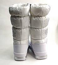 Детские подростковые дутики зимние сапоги на зиму для девочки белые Alaska 34р., фото 3