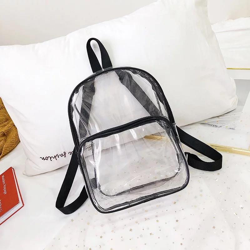 """Жіночий прозорий рюкзак """"TRANSPARENT"""" чорний 32х23х13 см"""