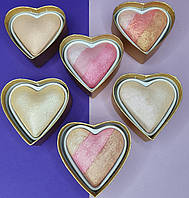 Хайлайтер и румяна запеченные для лица I Love Makeup Revolution Blushing Hearts Highlighter