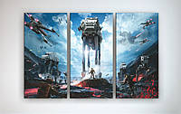 Картина модульная на холсте Звездные войны. 3 в 1!