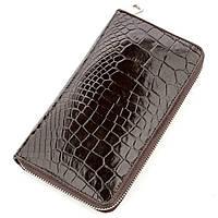 Мужской клатч CROCODILE LEATHER из натуральной кожи крокодила Коричневый 18527, КОД: 1283148