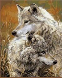 """Алмазная вышивка 50х40см на подрамнике (в раме) - набор """"Степные волки"""""""