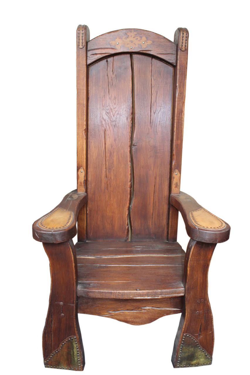 Кресло трон из натурального дерева под старину