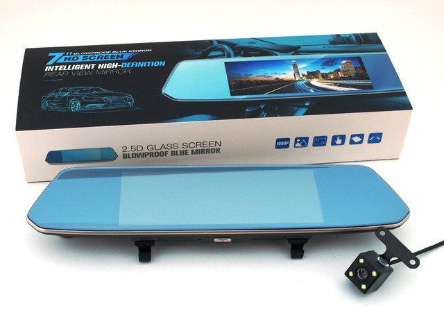 """Автомобильный Видеорегистратор зеркало DVR W700 Full HD сенсорный экран 7"""" с двумя камерами, фото 1"""