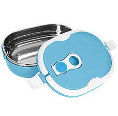 Вакуумный термо ланч бокс для еды BENTO 900мл синий