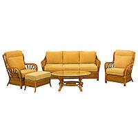 Комплект плетеной мягкой мебели Cruzo Аскания из натурального ротанга со столиком Желтый as0002-1, КОД: 741539