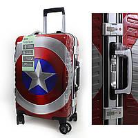 9429 Подростковый детский чемодан для мальчика Капитан Америка Марвел на 4 колесах двусторонняя картинка