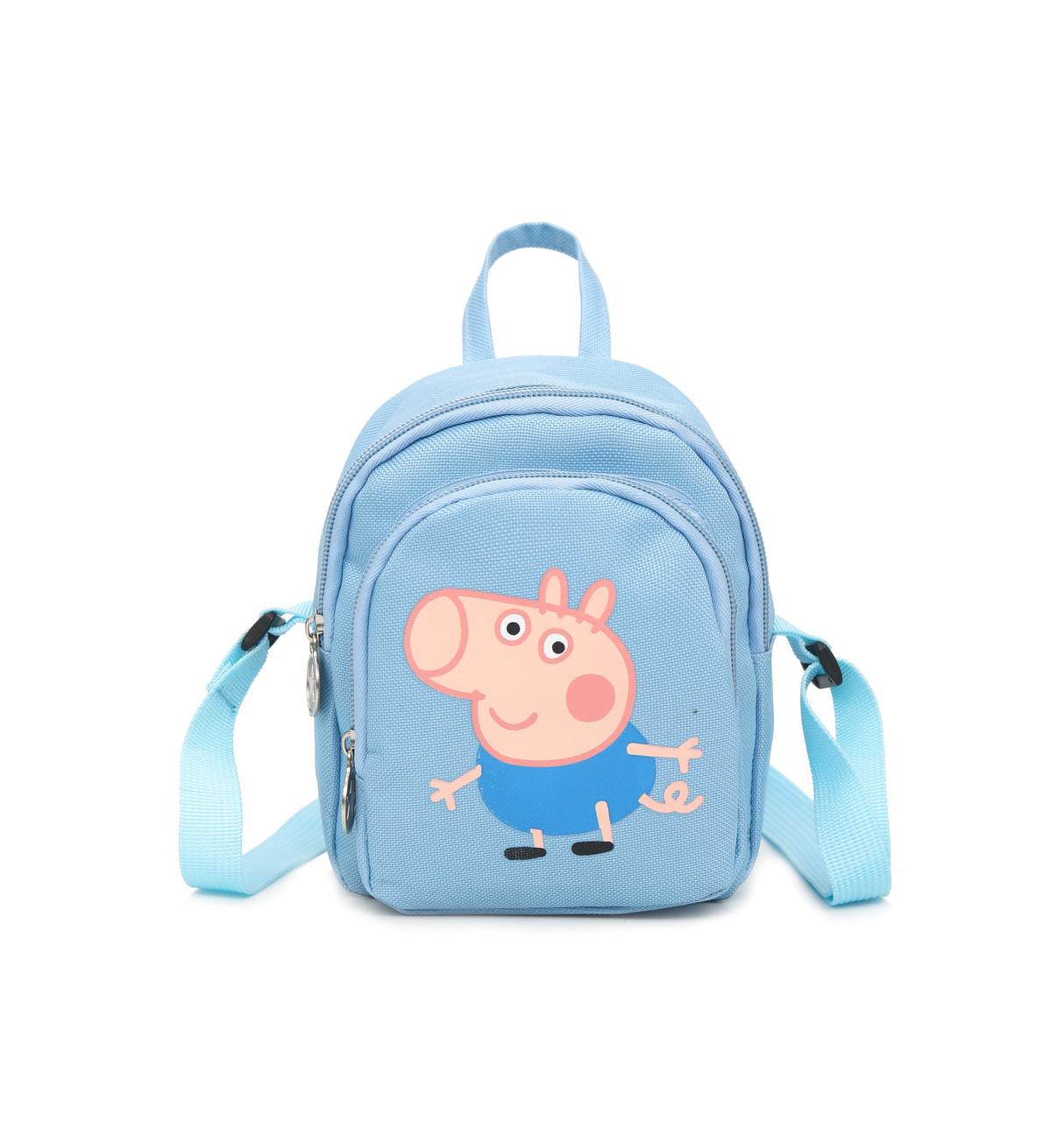 Женский маленький рюкзак Свинка Пеппа голубой