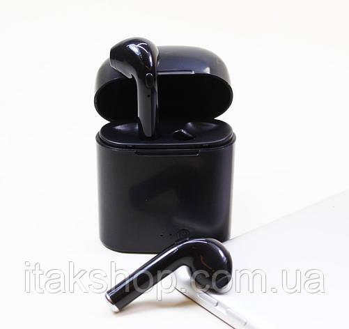 Беспроводные наушники Bluetooth i7S TWS с кейсом черные, фото 2