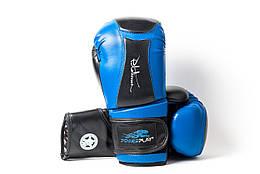 Боксерські рукавиці PowerPlay 3020 натуральна шкіра   PU 10 унцій Синьо-Чорні PP302010ozBlueBlack, КОД: 1138732