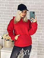 Женский теплый батник красный 4 расцветки, фото 1