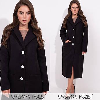 Кашемировое пальто на пуговицах, черный