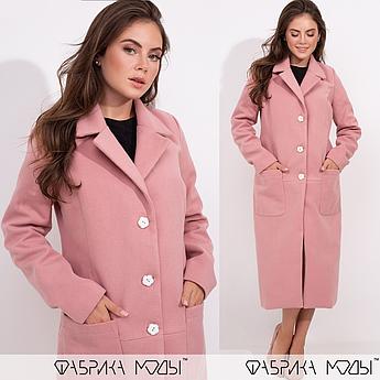 Кашемировое пальто на пуговицах, розовый