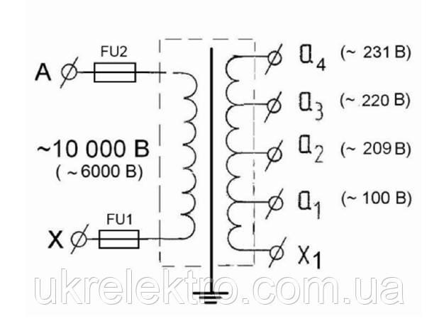 Принципиальная электрическая схема трансформатора и схема подключения ОСВЛп – 1,25 / 10 УХЛ 2: