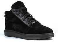 Зимние замшевые ботинки кроссовки мужская обувь черные Rosso Avangard Original Black Vel