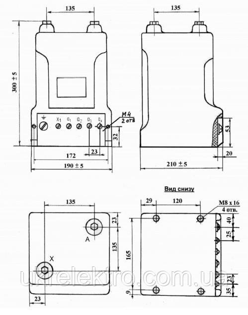 Габаритные, установочные и присоединительные размеры  трансформаторов ОСВЛп – 1,25 / 10 УХЛ2: